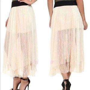 Free People Sugar Plum Dotted Raw Hem Mesh Skirt